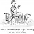 He had tried many ways to quit smoking - Stock Photo