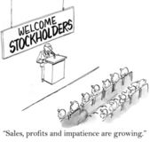 Sales, profits and impatience are growing stockholders — Stock Photo