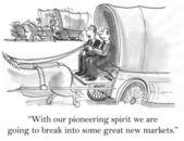 Pioneers will break into great new markets — Stock Photo