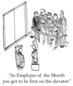 Employee of the month is first on elevator — Stockfoto