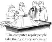 The computer repair take their job seriously — ストック写真