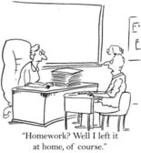 Home work was left at home of course — Stockfoto