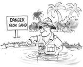 Impatient man sinks slowly in slow sand — Stock Photo