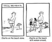 Charlie on the beach with women around — Стоковое фото
