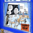 Foto Stock: Yappy hour at dog bar