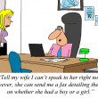 Businessman is too buy to learn whether wife had a boy or girl. - Stock Photo