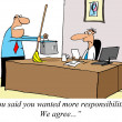 Businessman wants more responsibilities but not what is being of - Stockfoto
