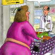 Fat woman in health food - Zdjęcie stockowe