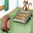 Happy Birthday in the cat litter - Stock Photo
