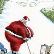 Fat Santa golfs with elf — Stock Photo