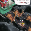 Cupid is among the reindeer - Stock Photo