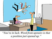 A job from upstairs just opened up. — Stock Photo