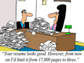 Limit resume to 3 pages, not 17,000 pages — Stock Photo