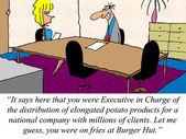 Executive in Charge of french fries is applying for a new job. — Stock Photo