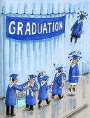 Graduates take off on wings — Stock Photo