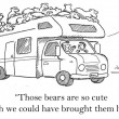The bears are so cute on trailer — Stock Photo