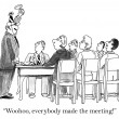 Foto Stock: Boss is excited by perfect meeting attendance