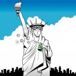 Statue of Liberty sprays underarm with deodorant - Stock Photo