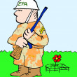 A soldier for the EPA guards the red flower - Stock Photo