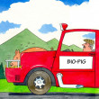 Car powered by bio pig eating grain - Stock Photo