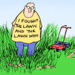 Stock Photo: Fought lawn and lawn won
