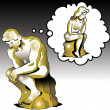 The thinker thinks of a woman thinker - Stock Photo