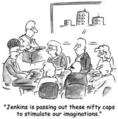 Jenkins is passing out nifty caps for our thinking — Stock Photo