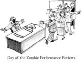 Day of the zombie job seekers with resumes — Stock Photo