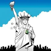 Statue of Liberty sprays underarm with deodorant — Stock Photo