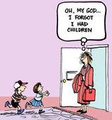 Ach můj i zapomněl jsem děti na dveře — Stock fotografie