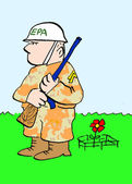 A soldier for the EPA guards the red flower — Stock Photo