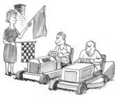газонокосилки для перетащить гонки определяются — Стоковое фото