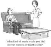 """""""¿qué clase de música te gustaría? metal clásico o muerte coreano?"""" — Foto de Stock"""