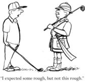 Golfista není připraven pro drsné kurz — Stock fotografie
