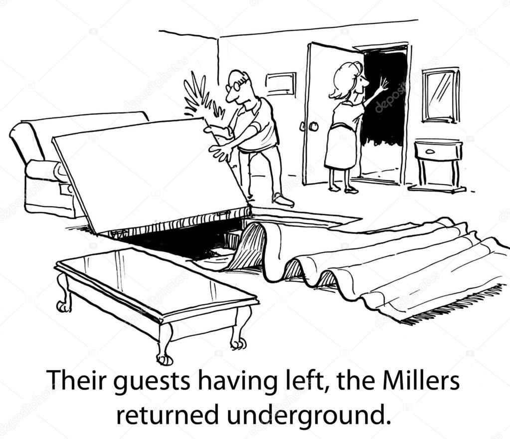 Their guests having left, the Millers returned underground. — Stock Photo #19278025