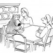 The hungry bear has a bowl of porridge - Foto de Stock  
