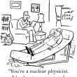 Nuclear physicist is given advice by therapist - Stock Photo