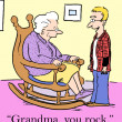 Grandson is impressed by his grandmother's rocking - Stock Photo