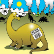 Expiration date on dinosaur's back about going extinct - Stock Photo