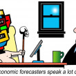 The economic forecaster looks like an Aztec idol - Stock Photo