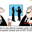 A day trader refer to James Bond instead of finacial bonds — Stock Photo