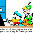Financial consultant meets with a cast of animation characters - Stock Photo