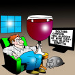 A man holds a large glass of wine for health benefits — 图库照片