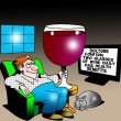 A man holds a large glass of wine for health benefits — Стоковая фотография