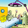 Surgeon uses Surgery for Dummies in operantion - Lizenzfreies Foto