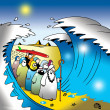 Moses leads the Jews which include a surfer - Stock Photo