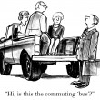 Can I get on the commuting bus? — Stock Photo