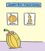 Gourd goes to the gym and become slim — Stock Photo