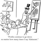 The magician cannot rescue the corporation with magic words — Foto de Stock