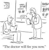Assistant tells patient he must pay before service — Foto de Stock